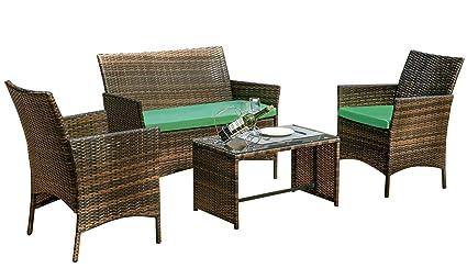 Amazon.com: Monto - Juego de muebles de mimbre para patio, 4 ...
