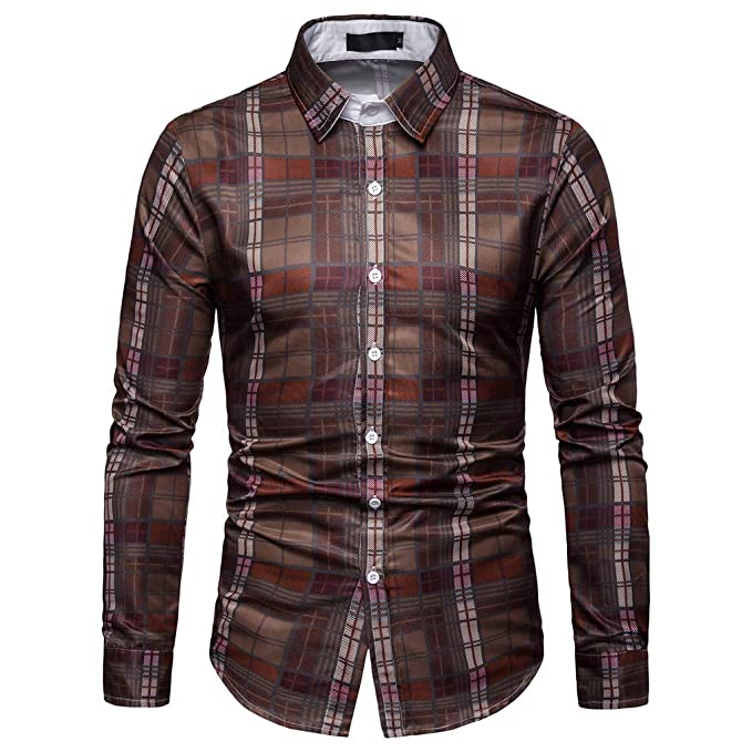 93f4b689017cc MIRRAY Brown Checked Business Shirts Mens Casual Plaid Long Sleeve Tops Man  Double Cuff Classic Collar Button Down Blouse Sportswear: Amazon.co.uk:  Clothing
