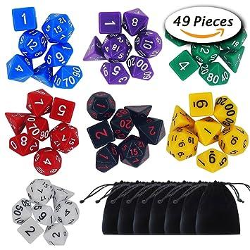 Paxcoo 7 x 7 (49 Piezas) poliédrico dados Conjunto con Bolsas para Dungeons and Dragons DND RPG MTG D20 D12 D10 D8 D6 D4 de mesa Juegos de cartas
