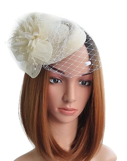 Fascinator Hats Pillbox Hat British Bowler Hat Flower Veil Wedding Hat Tea  Party Hat (Beige