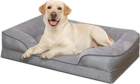 Heeyoo Waterproof Orthopedic Dog Bed Large Memory Foam Pet Beds Pillow With Removeable Machine Washable Cover And Non Slip Bottom Great For Older Dog And Dogs With Arthritis Kitchen