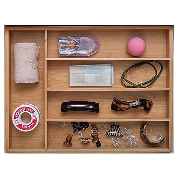 VORCOOL Bandeja del Cajón cubiertos cocina de bambú con 5 compartimentos portátiles para el uso de cocina baño escritorio: Amazon.es: Hogar