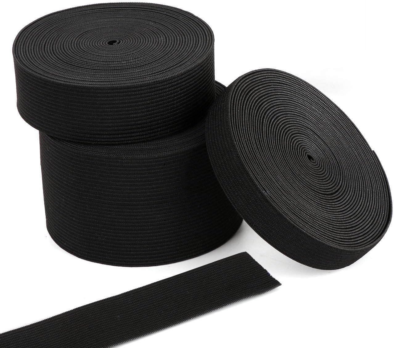 15 m/ètres Extensible Cordon /Élastique Ruban pour Le Projet de Couture de v/êtements Artisanat Fait main Bande /élastique noir 15-25-50 mm Largeur