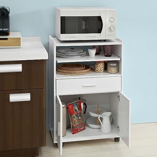 SoBuy®Aparador Auxiliar bajo de Cocina para microondas,con 2 Puertas y 1 cajón,L59 cm x P40 cm x H92 cm,FSB09-W,ES: Amazon.es: Hogar