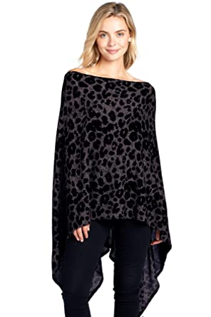 bc4bacd58e9 Modern Kiwi Solid Long Knit Asymmetric Wrap Poncho Topper Brown Leopard One  Size