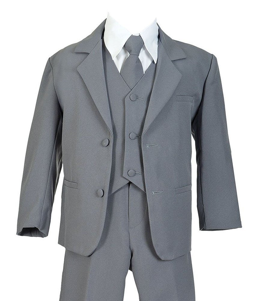 iGirlDress Boys Formal Dress Suit with Shirt and Vest Gray 12