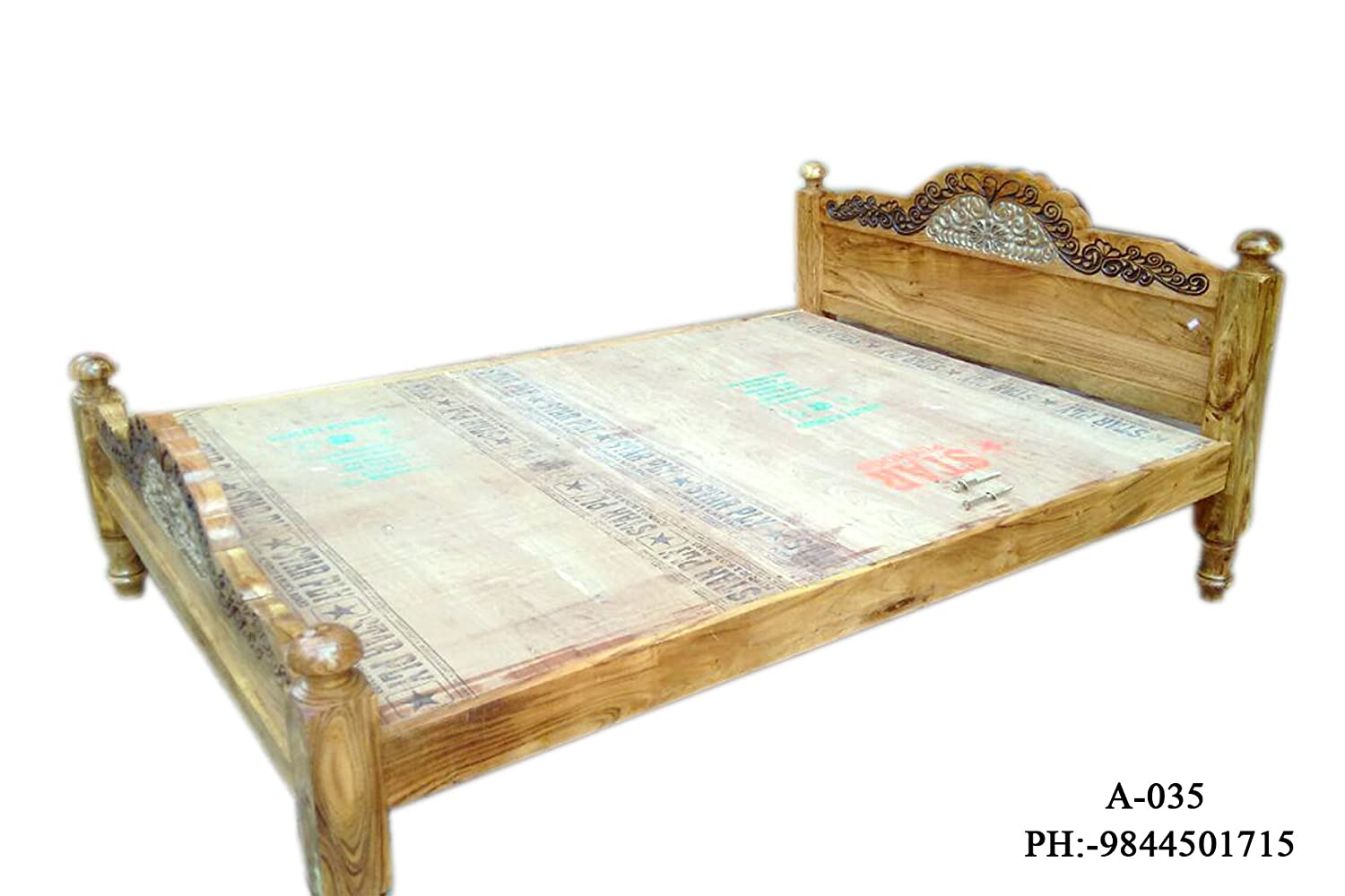 Queen Size Assam Teak Wood Bed Amazon In Home Kitchen