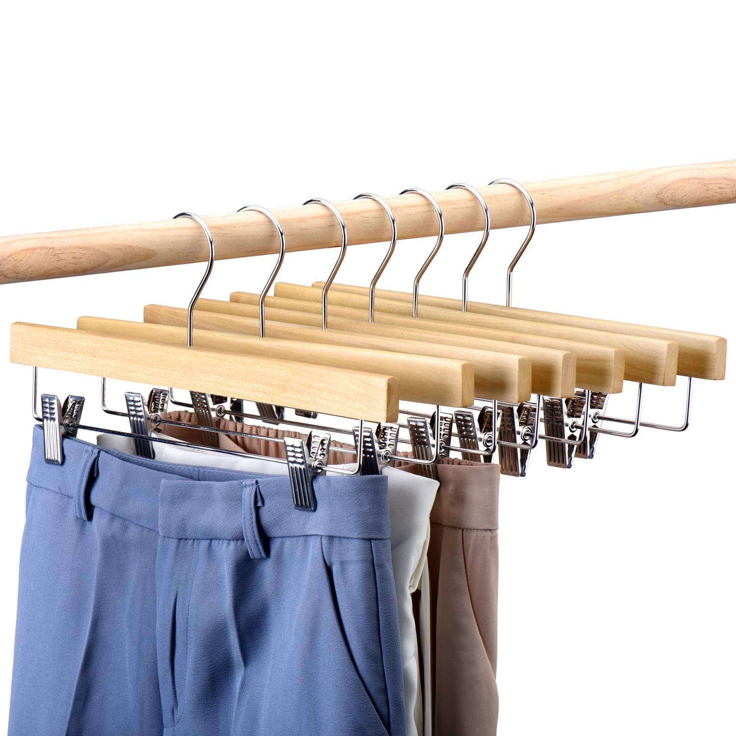 HOUSE DAY Wooden Pants Hangers 25pcs 14inch Wood Skirt Hangers Trousers Bottom Hangers with Adjustable Clips, 360 Swivel Hook, Premium Solid Wood, Natural Wood Hangers Elegant for Closet Organization by HOUSE DAY
