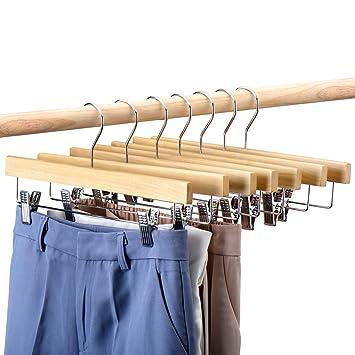 HOUSE DAY 25pcs Perchas de madera para pantalones 14
