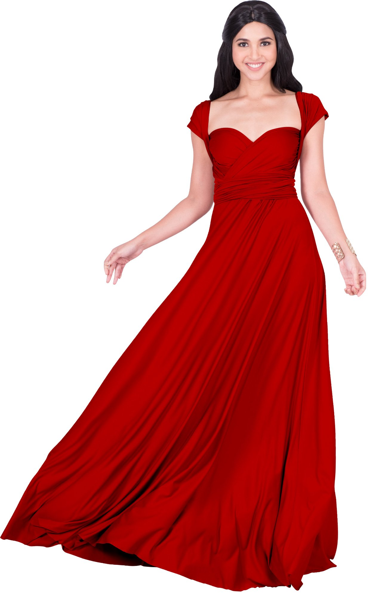 KOH KOH Petite Womens Long Bridesmaid Multi-way Wedding Convertible Wrap Infinity Cocktail Sexy Summer Party Formal Prom Transformer Gown Gowns Maxi Dress Dresses, Red XS 2-4