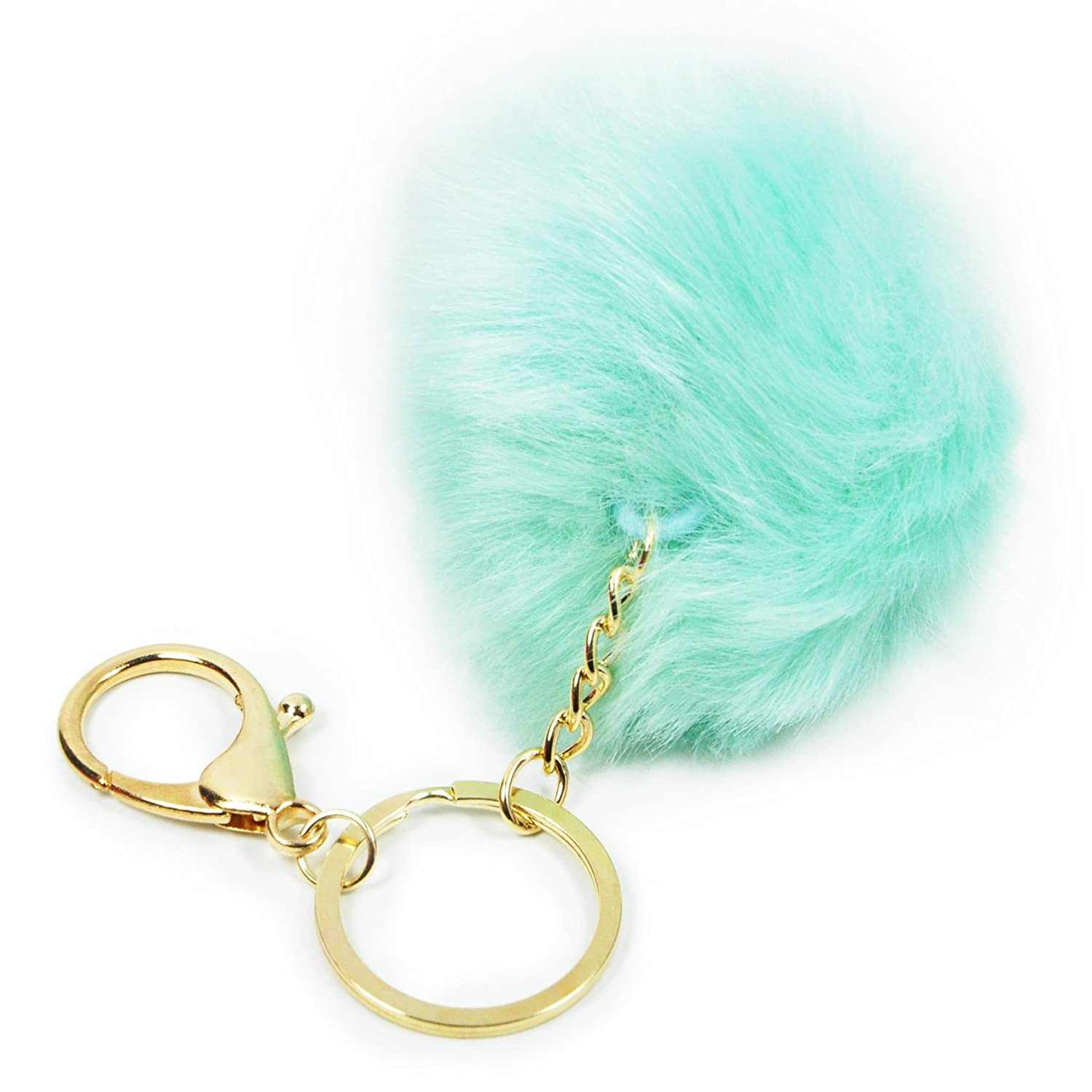 Plush Ball Key Chain For Car Key Ring Or Bags Light Blue