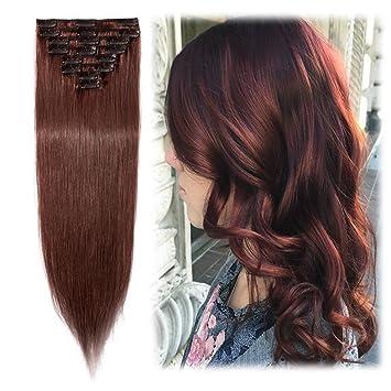 Clip In Hair Extensions 100 Remy Human Hair Dark Auburn For Women Silky Straight Soft Hair Full