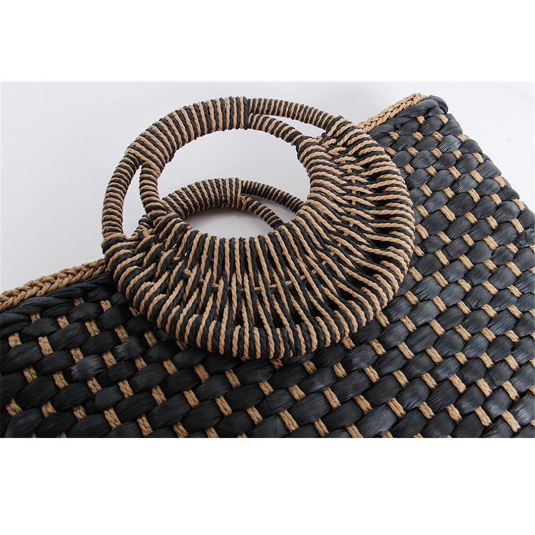 Amazon.com: LAIHUIBAO an Style Bag Holiday Creative Weave Bamboo Handle Tote Women Big Shoulder Bag Rattan Straw Handbag Travel Basket Bag Black 38cm by ...