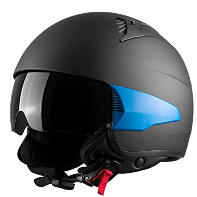 Westt Rover Motorcycle Helmet - Open Face Moped Helmet Retro Style for Motorcycle Scooter Harley with Sun Visor - 3/4 Helmet DOT Certified USA Street Legal (Matte Black): Automotive