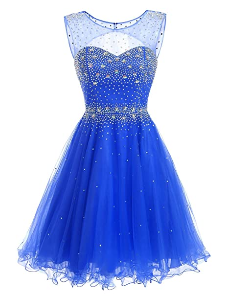 8e9cf959209 Clearbridal Royal Blue Homecoming Dresses Short for Juniors Prom Dresses  Ball Gown with Beads