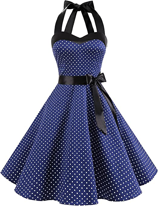 TALLA M. Dresstells® Halter 50s Rockabilly Polka Dots Audrey Dress Retro Cocktail Dress Navy White Dot M
