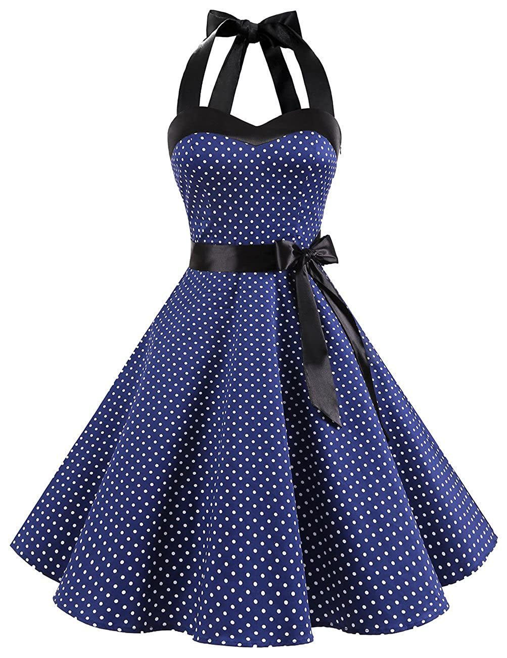 TALLA XS. Dresstells® Halter 50s Rockabilly Polka Dots Audrey Dress Retro Cocktail Dress Navy White Dot XS