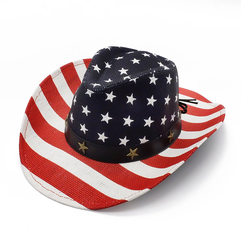 wbeng Vintage Tea-Stained American Flag Cowboy Summer Sunhat Straw Western Caps for Men and Women-Bright