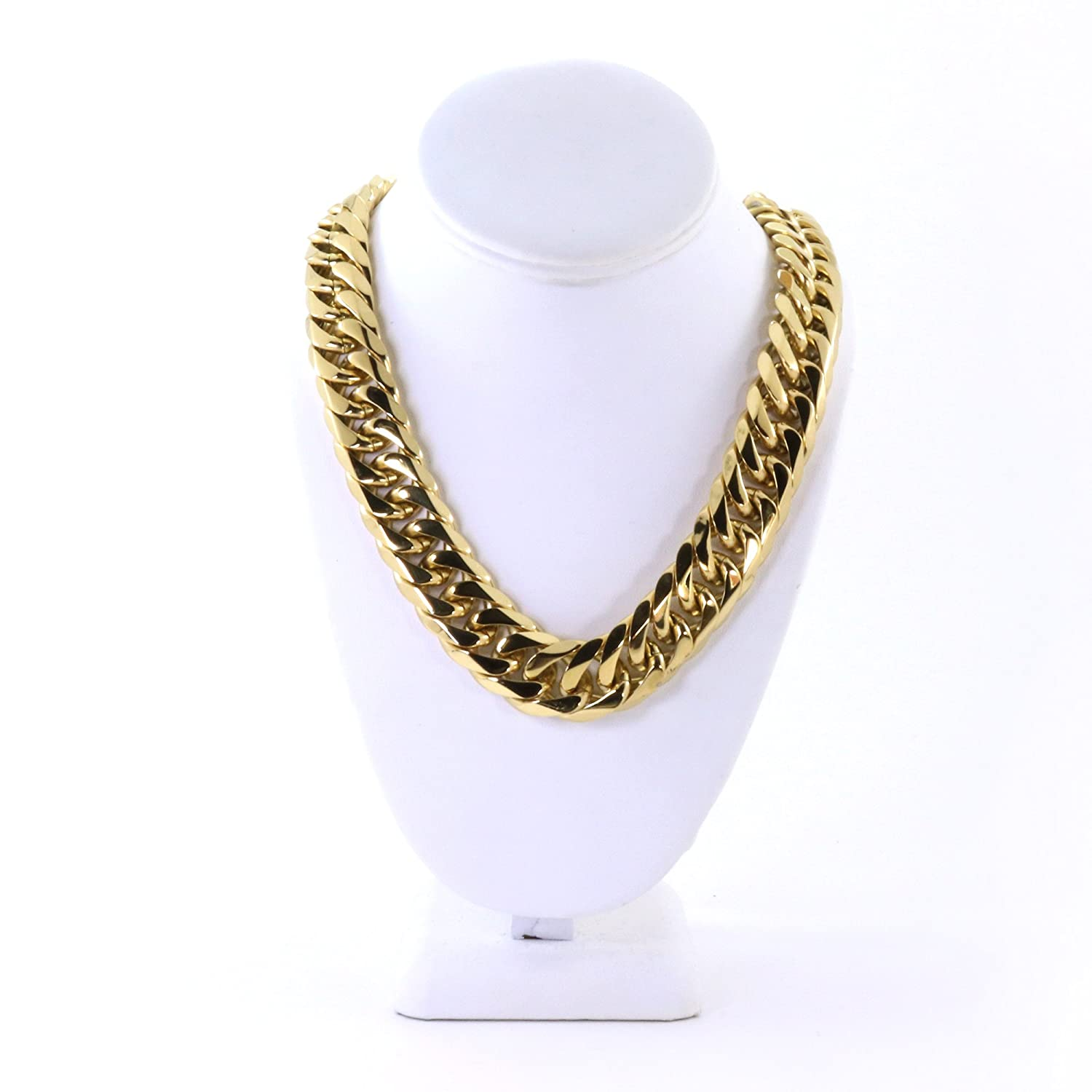 543b727c653be Solid 14k Yellow Gold Finish Stainless Steel 21mm Thick Miami Cuban ...