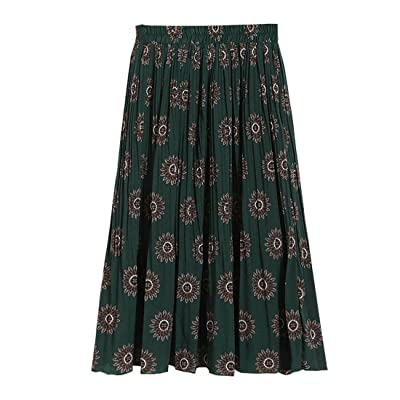 Spring Vintage Floral Printed A-Line Green Below Knee Skirts Stretch Waisted Sweet Pleated Long Skirt