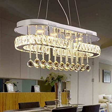 Crystal Chandeliers, 48W Modern Minimalist Rectangular Dining Room Living Room  Chandelier,70x26cm 2color Stainless
