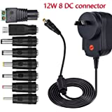 Universal 12W 3V 4.5V 5V 6V 7.5V 9V 12V 1A 1000mA Regulated Multi Voltage Switching Replacement Power Supply Adapter Charger PSU for Household Electronic Devices Routers Speakers LCD CCTV Cameras TV box Audio (12W 8 DC Tips)