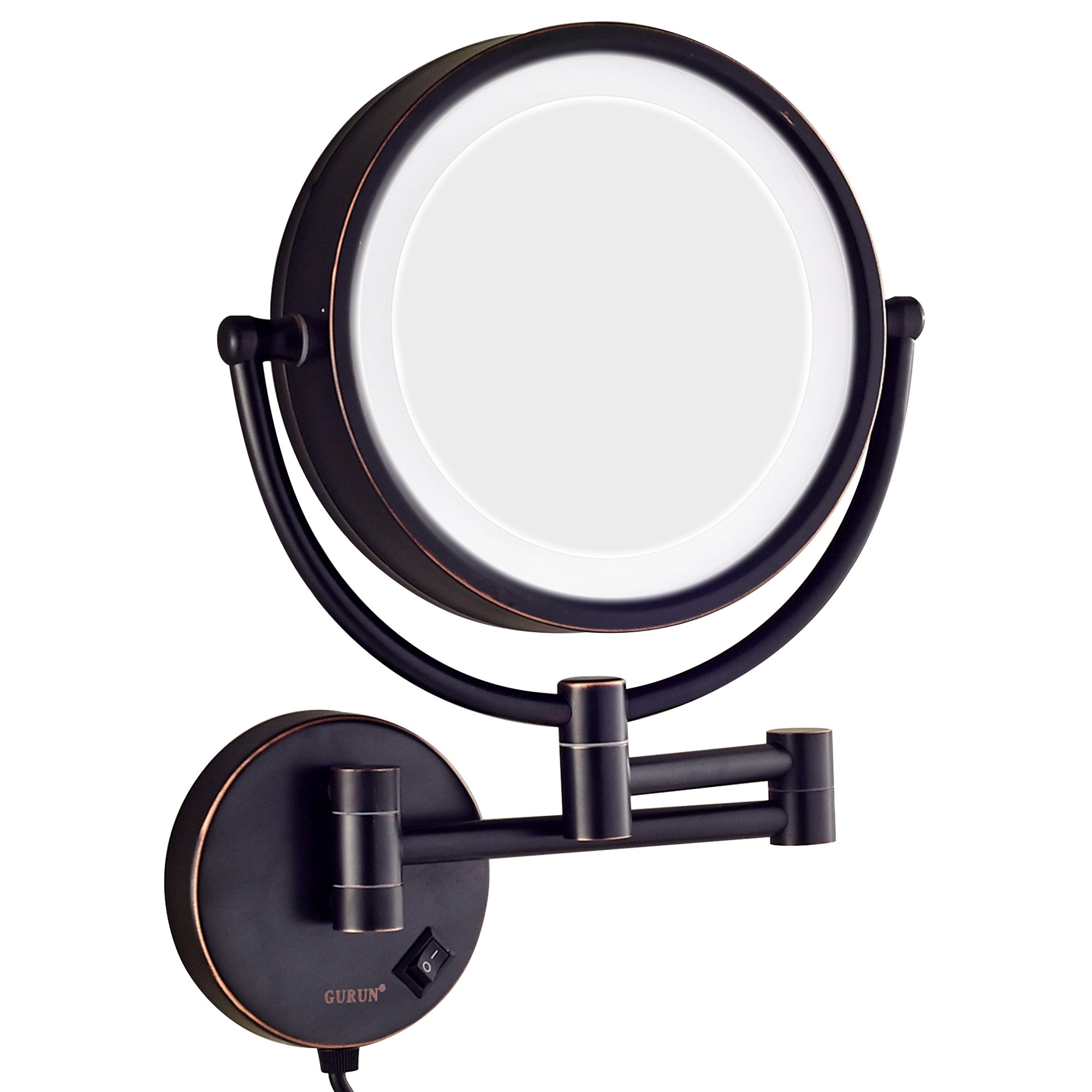 GURUN LED Lighted Wall Mount Makeup Mirror with 10x Magnification,Oil-Rubbed Bronze Finish, 8.5 Inch, BRASS,M1809DO(8.5in,10x) by GURUN (Image #3)