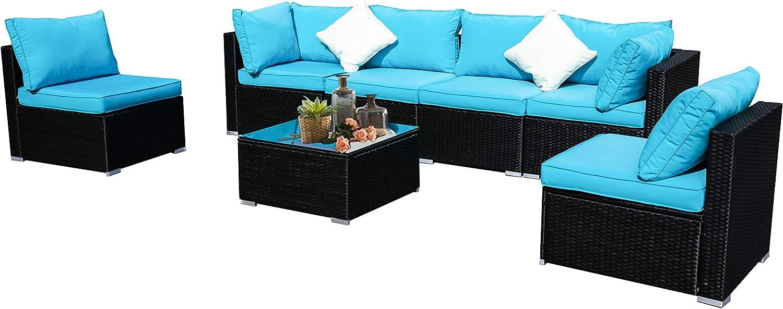 DOIT Patio Furniture for Back Yard,Patio Furniture Set,Patio Sets, Patio Chairs Set of 7,Patio Set 7pcs Blue