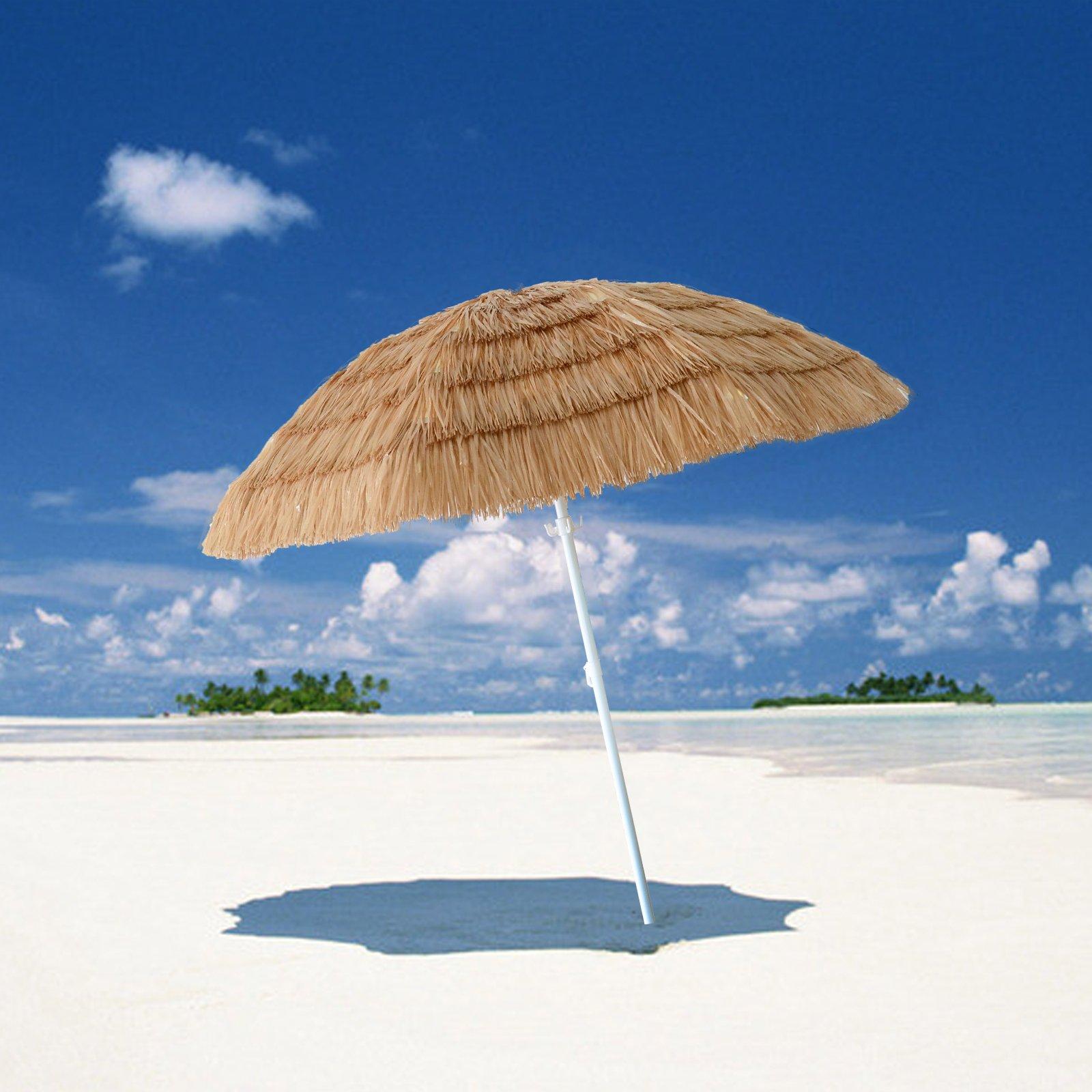 CASUN GARDEN 7' Hula Thatched Tiki Umbrella Outdoor Beach Umbrella with Hanging Hook, Natural Color