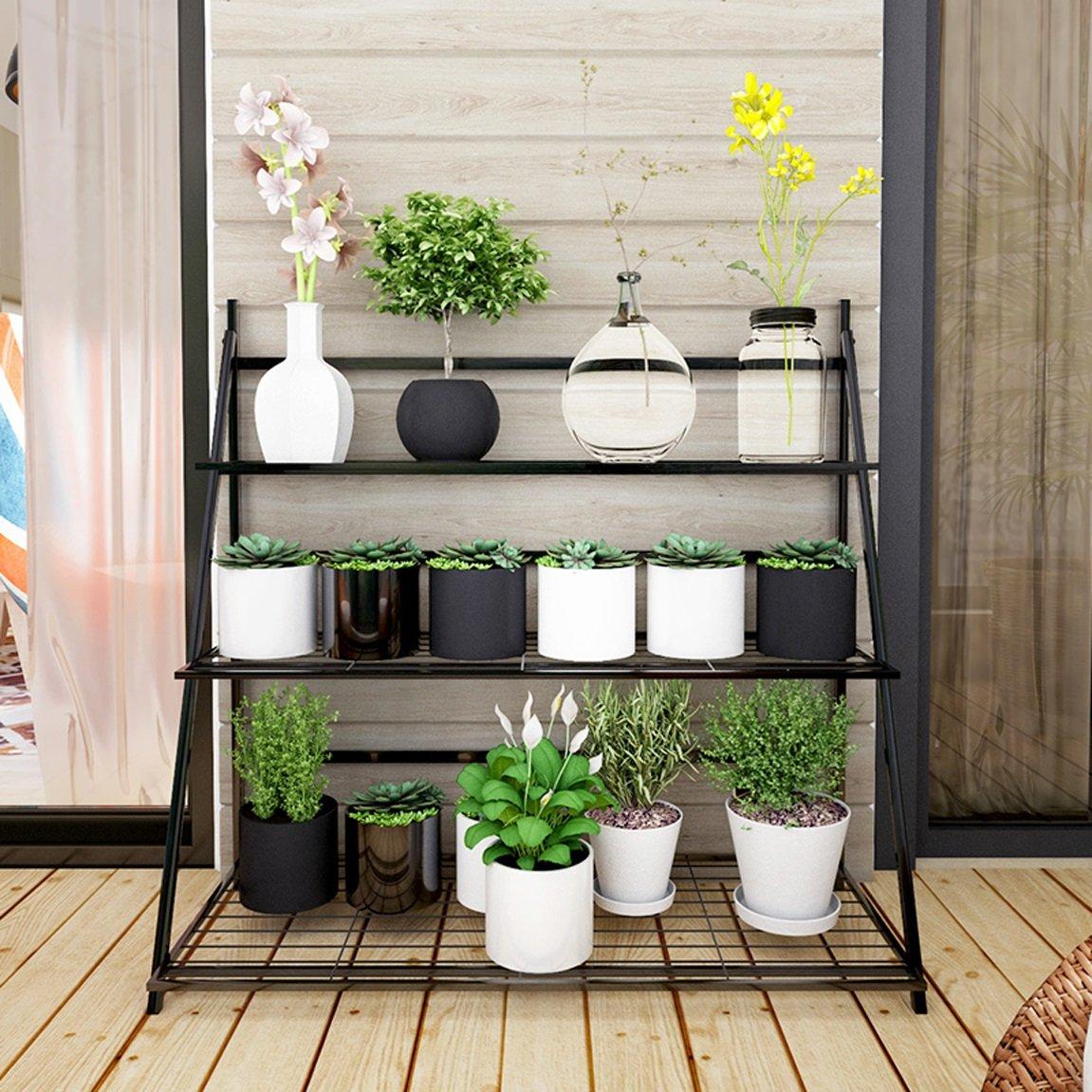 LRW European Flower Rack, Green Lace, Chlorophytum, Indoor Folding Flower Rack, Multi Floor Landing Flower Rack, Black.