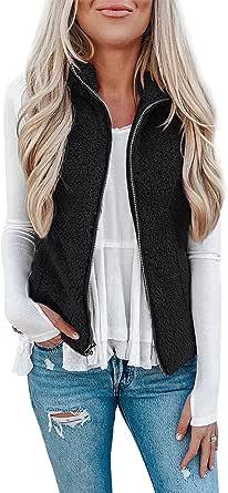 LOMON Womens Fuzzy Sherpa Fleece Jacket Lightweight Vest Cozy Sleeveless Cardigan Zipper Waistcoat Outerwear with Pocket