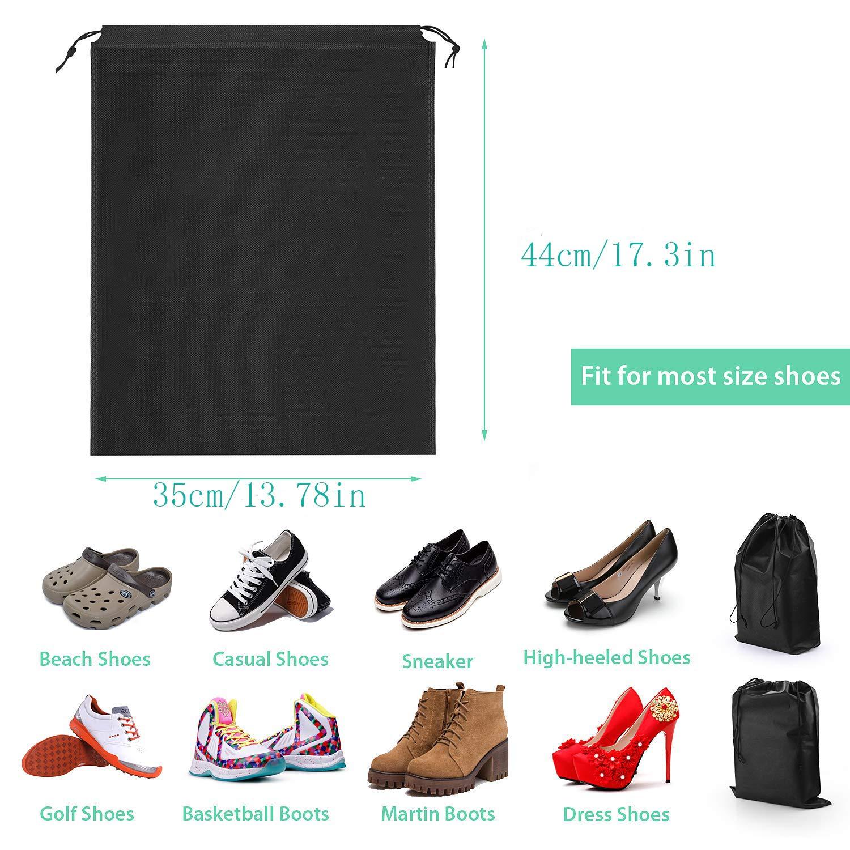 Bolsa de Zapatos Repelente al Agua Bolsa de Zapatos a Prueba de Polvo Bolsa de Tela Negra con Bolsa de Almacenamiento de Viaje Tieback Organizador para Viajar a casa Bolsa de Zapatos 10pcs