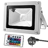 Warmoon 10W RGB LED Fluter Strahler Licht die Wasserdichte Sicherheitsleuchten mit EU Plug & Fernbedienung