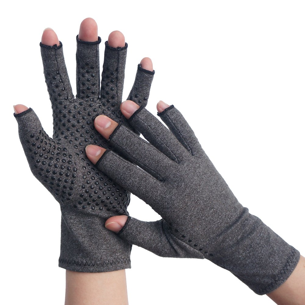 PROMEDIX Compression Arthritis Gloves Active Arthritis Gloves for Relieve Joint Pain, Textured Open Finger Hand Gloves For Daily Work (Pressure Points, M) by PROMEDIX