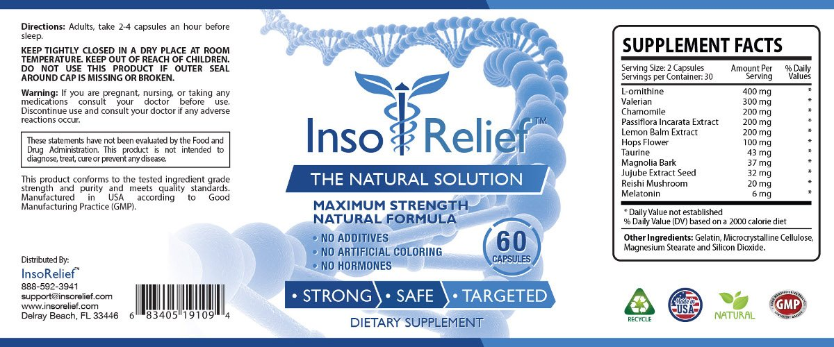 InsoRelief - The #1 Choice for Combating Insomnia - 100% Natural and Non-Habit Forming - With Valerian, Hops, Melatonin, L-ornithine - Improves Sleep Quality - 100% Money Back - 6 Bottles Supply by InsoRelief (Image #2)