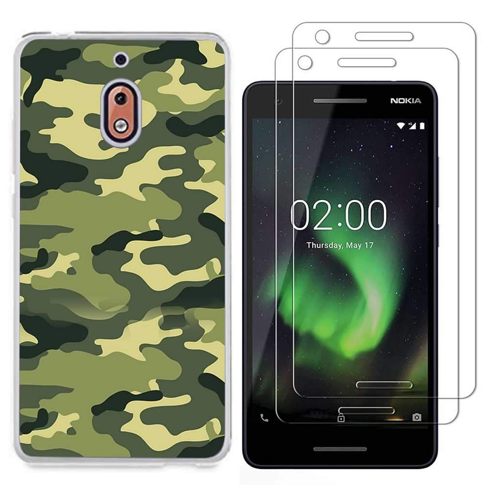 Nokia 2.1 Case with 2 Pack Glass Screen Protector Phone Case for Men Women Girls Clear Soft TPU with Protective Bumper Cover Case for Nokia 2 V-Camouflage