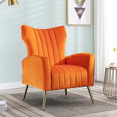 Altrobene Velvet Accent Wingback Chair Curved Tufted Armchair - a good cheap living room chair