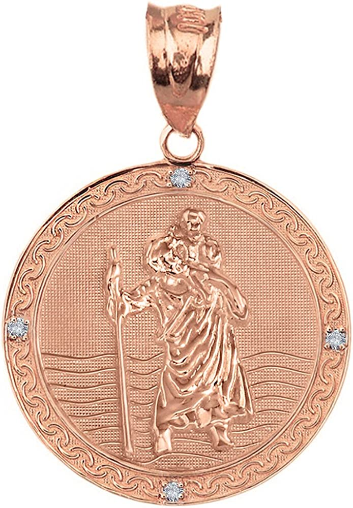 Gold St Christopher Necklace Ladies Rectangle Charm Girls Rosegold Sterling Silver Patron Medal Protection Catholic Jewelry Rectangle Gift