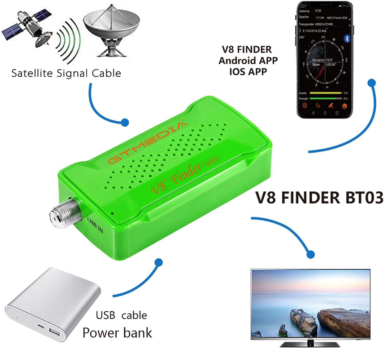 GT MEDIA V8 Sat Finder BT03 Localizador satelite Medidor de Campo Satelital, Conectar el teléfono a través de Bluetooth, Ajuste óptimo de Antenas ...