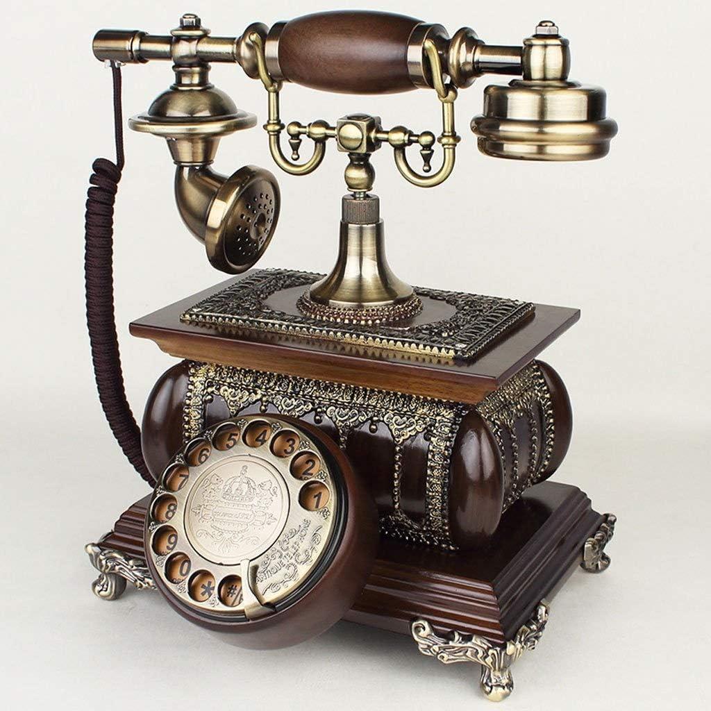 PEILIAN Teléfono De La Sala De Estar Antigua De Madera Maciza Fija De La Línea Fija De La Máquina Teléfono Retro Retro Dial Europeo (Color : A)