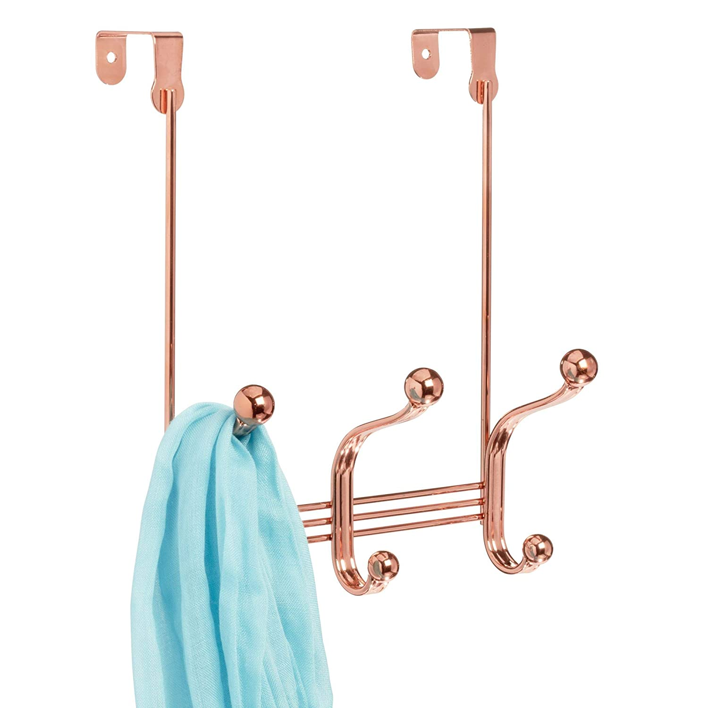 "iDesign York Metal Over the Door Organizer, 3-Hook Rack for Coats, Hats, Robes, Towels, Bedroom, Closet, and Bathroom, 4"" x 8.3"" x 11"" - Rose Gold"