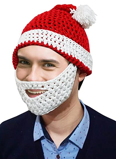 Amazon Adult Knitted Winter Hat With Beard Christmas Santa