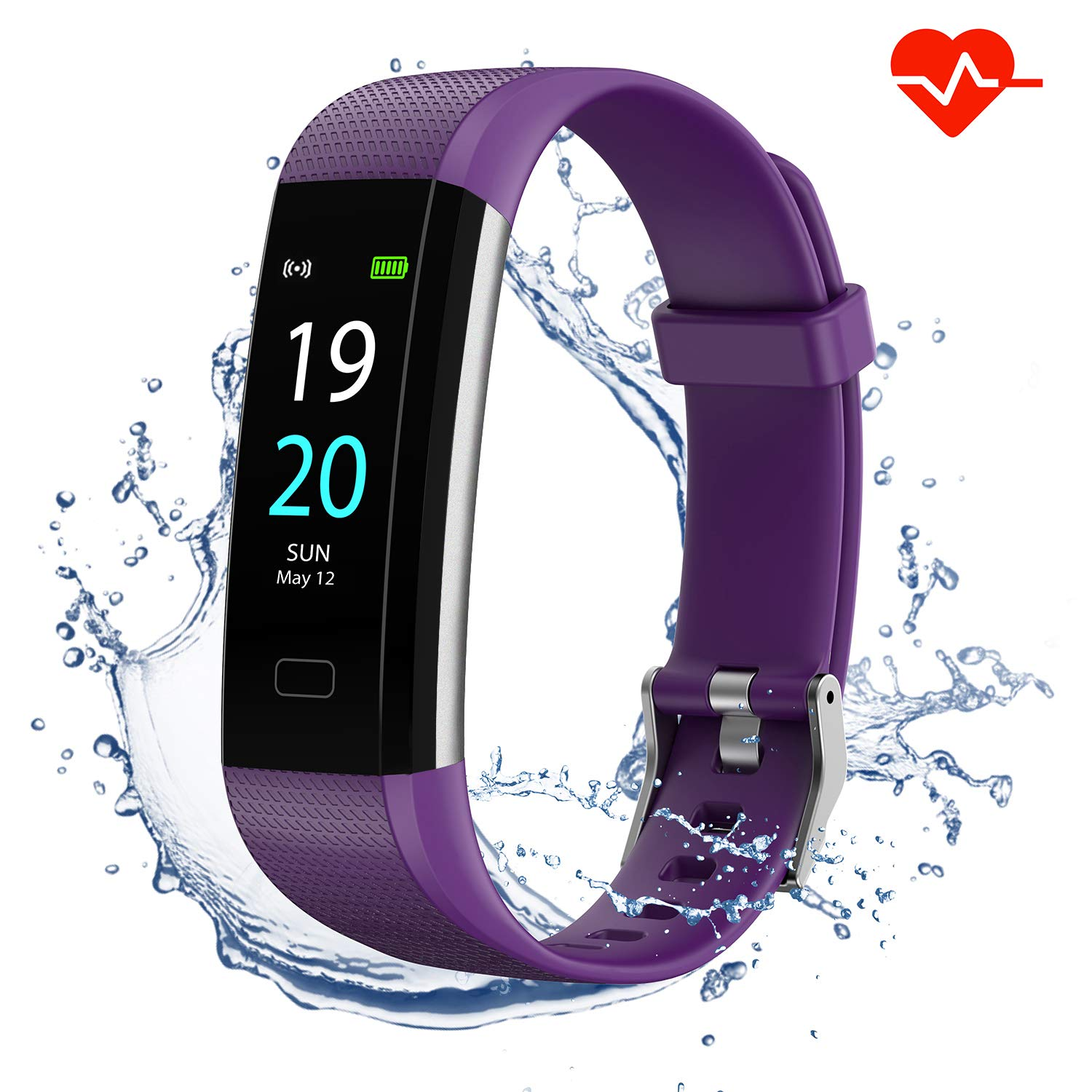 Akasma Fitness Tracker HR, S5 Activity Tracker Watch with Heart Rate Monitor, Pedometer IP68 Waterproof Sleep Monitor Step Counter for Women Men (Purple)