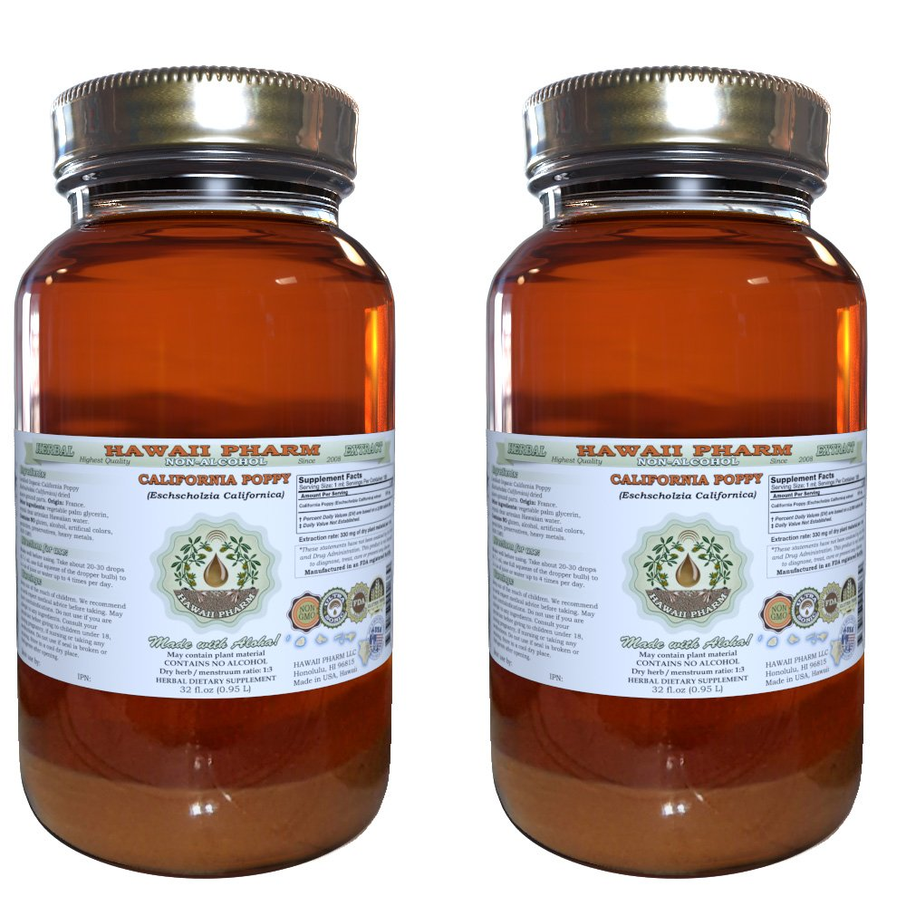 California Poppy Alcohol-FREE Liquid Extract, Organic California Poppy (Eschscholzia Californica) Dried Above-Ground Part Glycerite 2x32 oz Unfiltered by HawaiiPharm