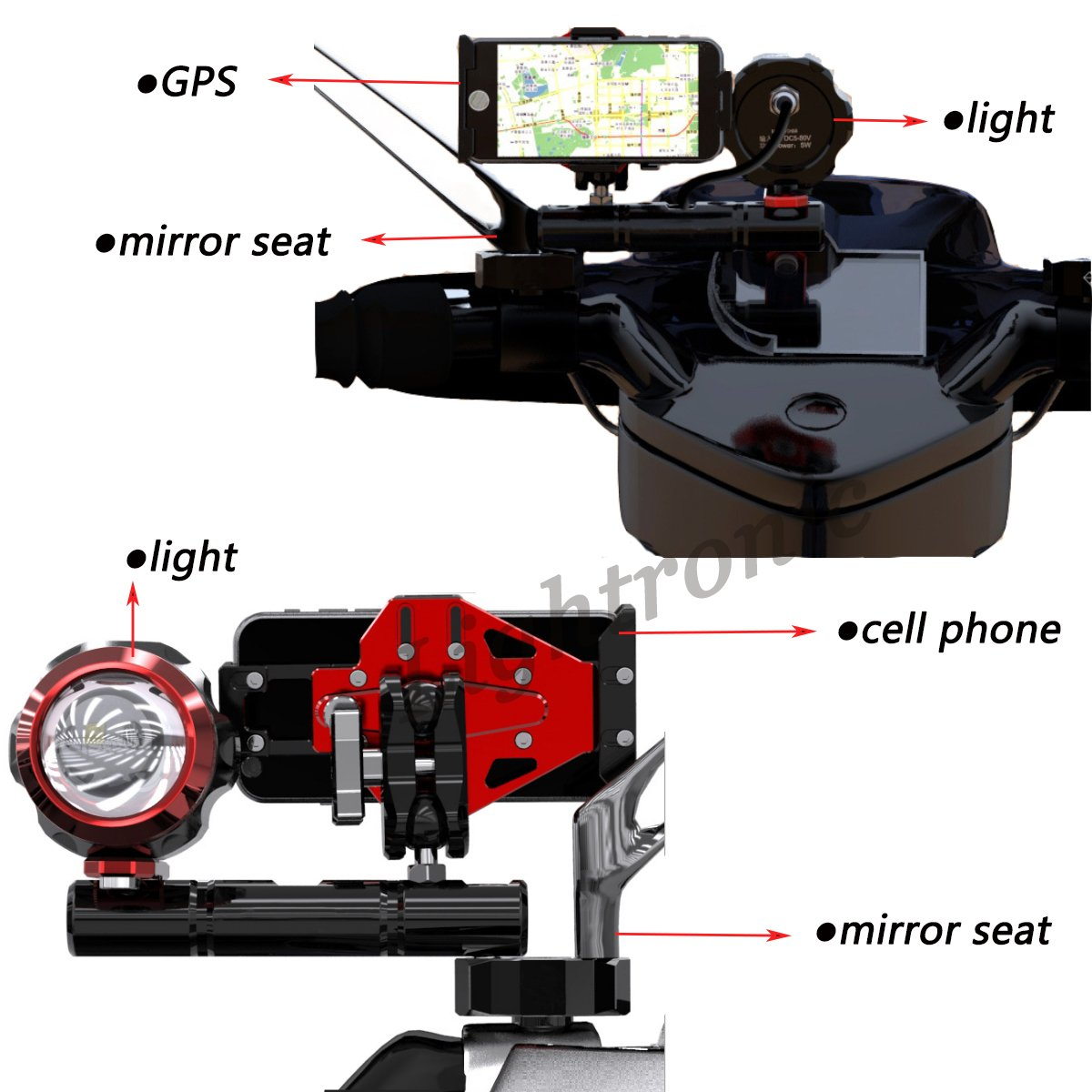 Lightronic Multifunktionale Spiegel Lenkerendenspiegel Lenkerspiegel R/ückspiegel Klammer f/ür Ryde Spiegel Handy GPS Erweitern Halterung (Schwarz)