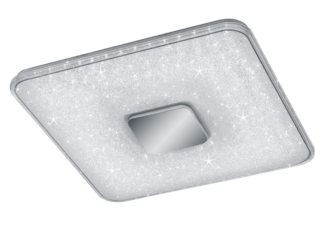 Trio Leuchten Akura 628890100 LED Deckenleuchte, Helligkeit und Lichtfarbe einstellbar, Nachtlicht Funktion, Acryl Kristall Effekt, 45 Watt