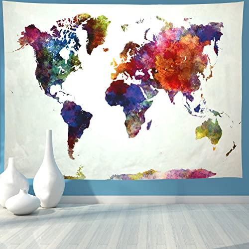 Ameyahud World Map Tapestry Watercolor World Tapestry Abstract Map Tapestry World Tapestry Wall Hanging for Bedroom XL 70.8 92.5 , Colorful Map