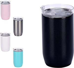 11 oz Glass Insulated Tumblers with Lids, Vacuum Stainless Steel, Iced Coffee Travel Mug Cups, Glass Double Wall Tumbler Mugs for Ice Drinks and Hot Beverage (Black )