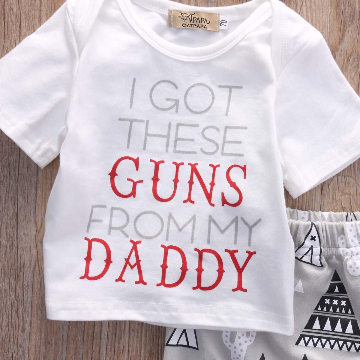 3PCS Kids Baby Girls BoyI Got These Guns From My Daddy Outfits Set