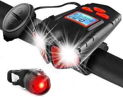Bcamelys Fahrrad,Fahrradlicht,Led Fahrradlichter Set mit Solar,Frontlicht R/üCklicht Mit 3 Licht-Modi,Bike Light Mit Lautsprech,USB Aufladbar 2000Mah,LED Fahrrad,350Lumen,Stabil,Wasserdicht,4 Farben